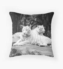 Two  White Siberian Tigers  Throw Pillow