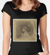 Drawing - Portret van Sjah Jahan, Rembrandt Harmensz. van Rijn, Anonymous, 1656 - 1658  Women's Fitted Scoop T-Shirt