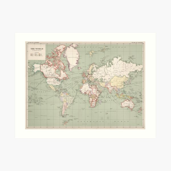 Mapa vintage del mundo (1915) Lámina artística
