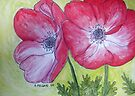 Two Red Anemones by Alexandra Felgate