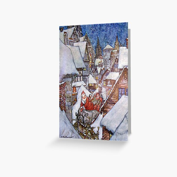 The Night Before Christmas Arthur Rackham Greeting Card By Forgottenbeauty Redbubble