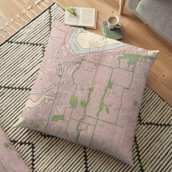 Vintage Map of Kansas City MO (1912) Floor Pillow