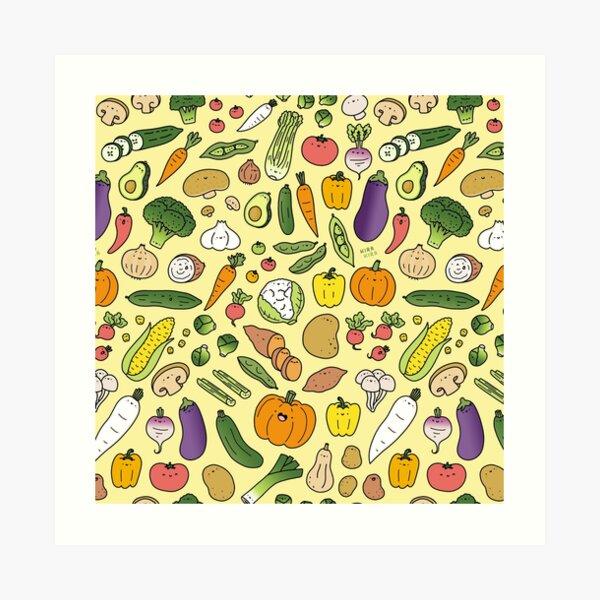 Veggie Friends Doodle Art Print