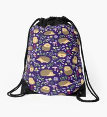 Hedgehogs in a magical purple forest Drawstring Bag
