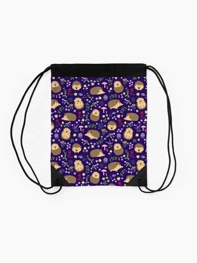 Alternate view of Hedgehogs in a magical purple forest Drawstring Bag