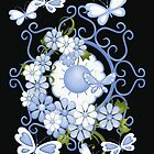 Blue Flowers and Butterflies by LoneAngel