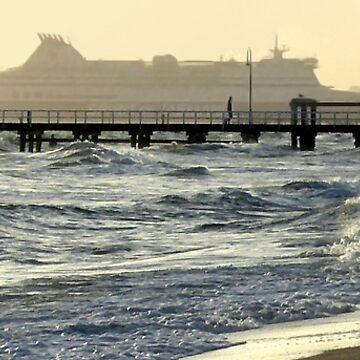 Dusk at Port Melbourne Beach by rozmcq