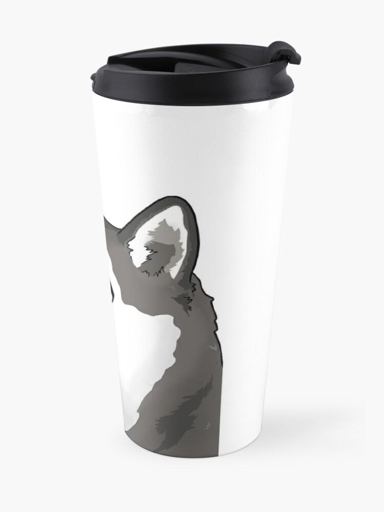 Alternate view of siberian husky doge / moonmoon meme Travel Mug