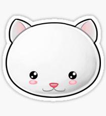 White Cat Kawaii Sticker
