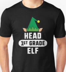 Head 3rd Grade Elf T-Shirt Christmas Teacher School Gift Unisex T-Shirt
