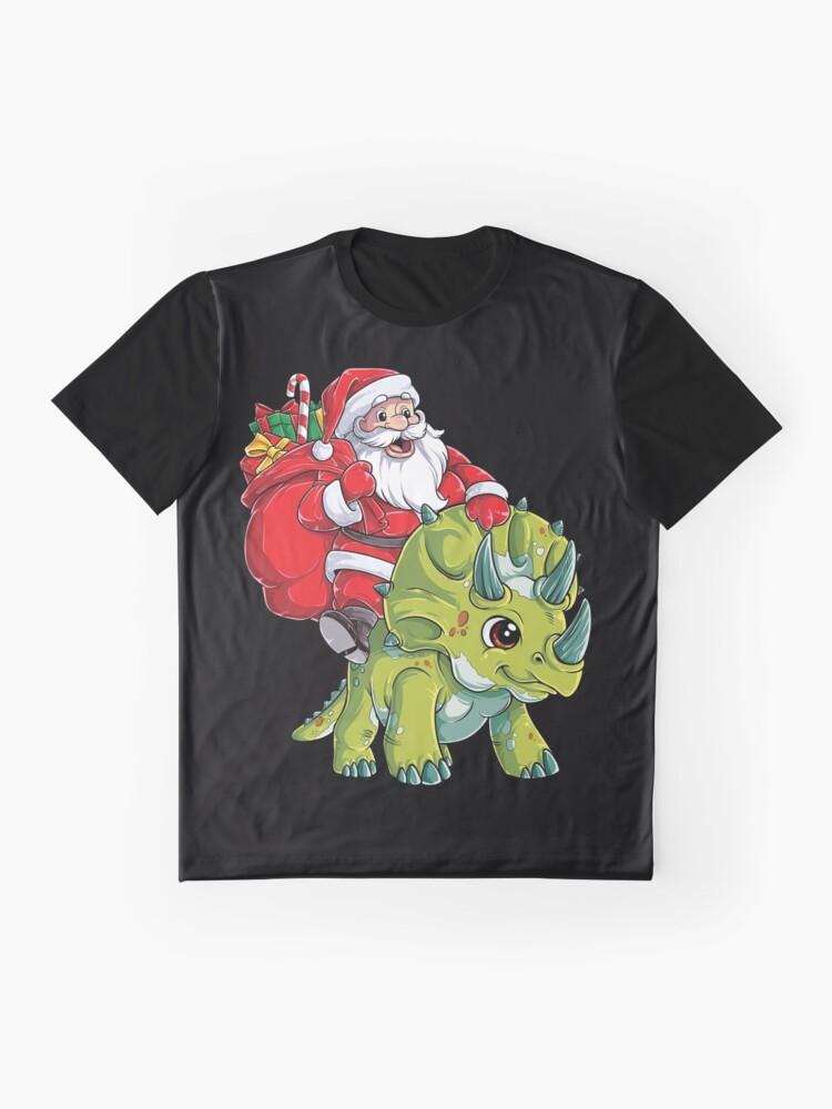 Alternative Ansicht von Weihnachtshemden für Jungen Santa Dinosaur Triceratops Gifts Grafik T-Shirt