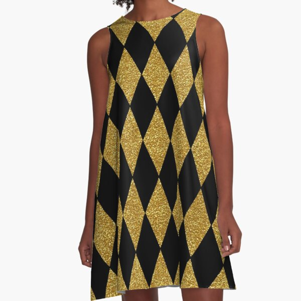 Black and Gold Harlequin A-Line Dress