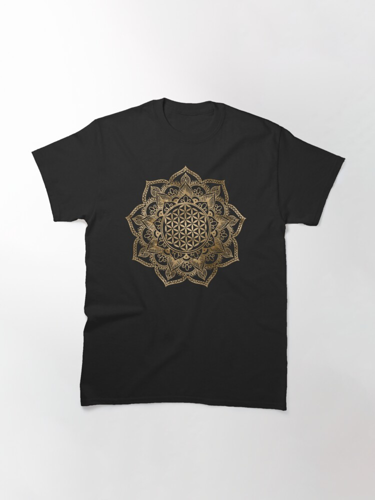 Alternate view of Flower of Life in Lotus - pastel golds and canvas Classic T-Shirt