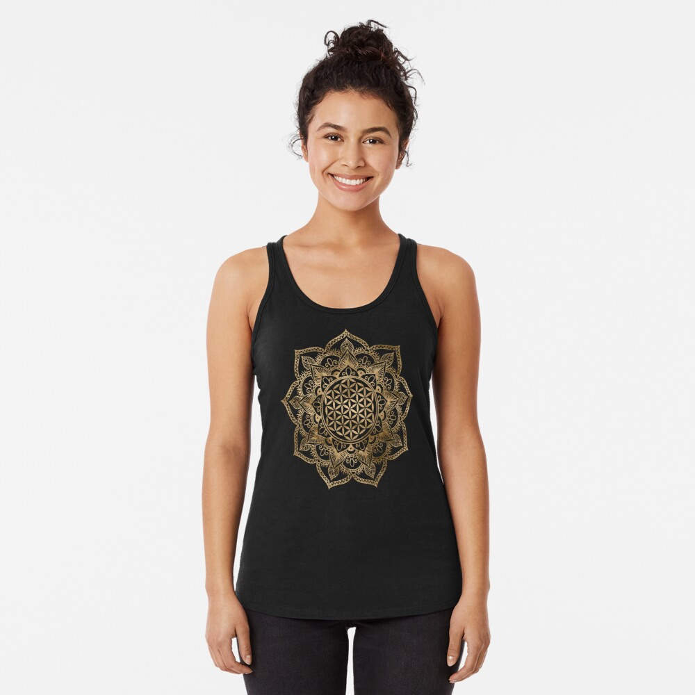 Flower of Life in Lotus - pastel golds and canvas Racerback Tank Top