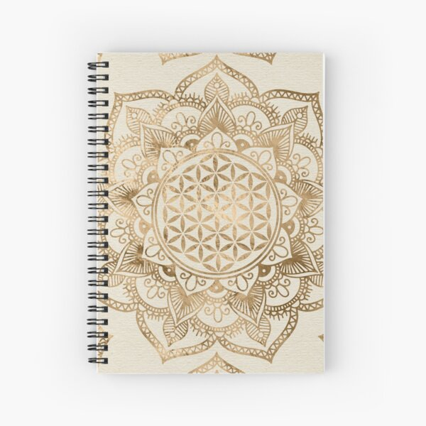 Flower of Life in Lotus - pastel golds and canvas Spiral Notebook