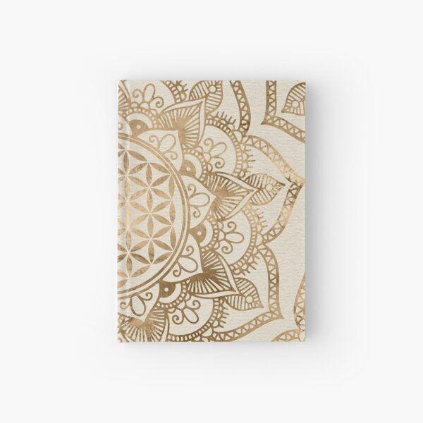 Flower of Life in Lotus - pastel golds and canvas Hardcover Journal