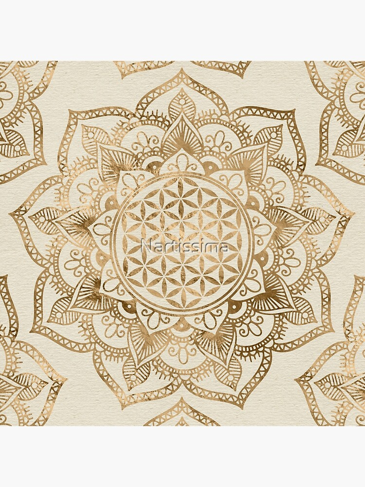 Flower of Life in Lotus - pastel golds and canvas by Nartissima