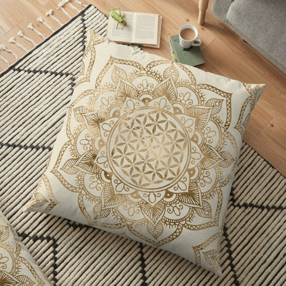 Flower of Life in Lotus - pastel golds and canvas Floor Pillow