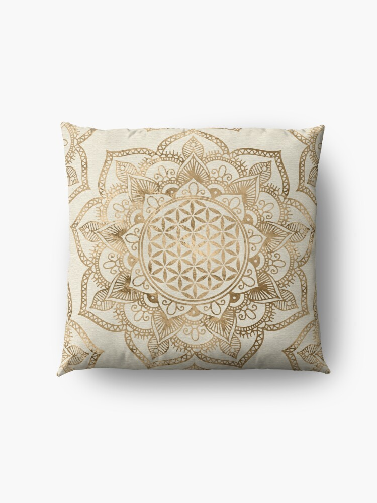 Alternate view of Flower of Life in Lotus - pastel golds and canvas Floor Pillow