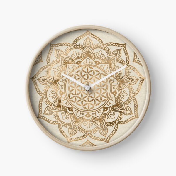 Flower of Life in Lotus - pastel golds and canvas Clock