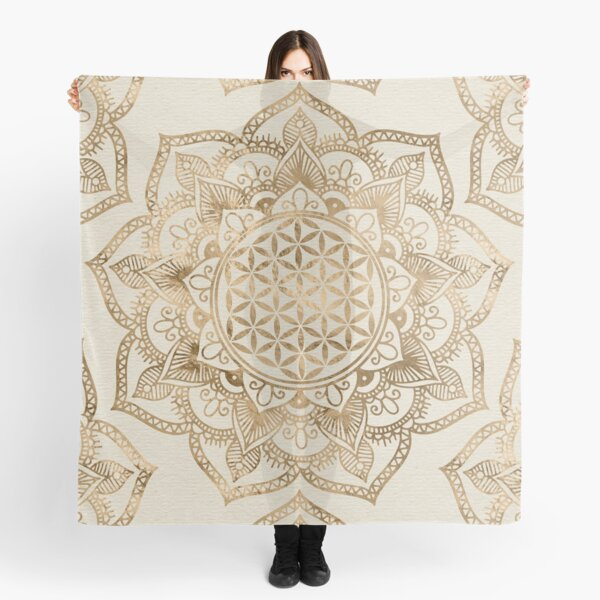 Flower of Life in Lotus - pastel golds and canvas Scarf