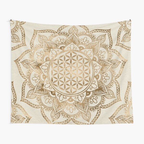 Flower of Life in Lotus - pastel golds and canvas Tapestry
