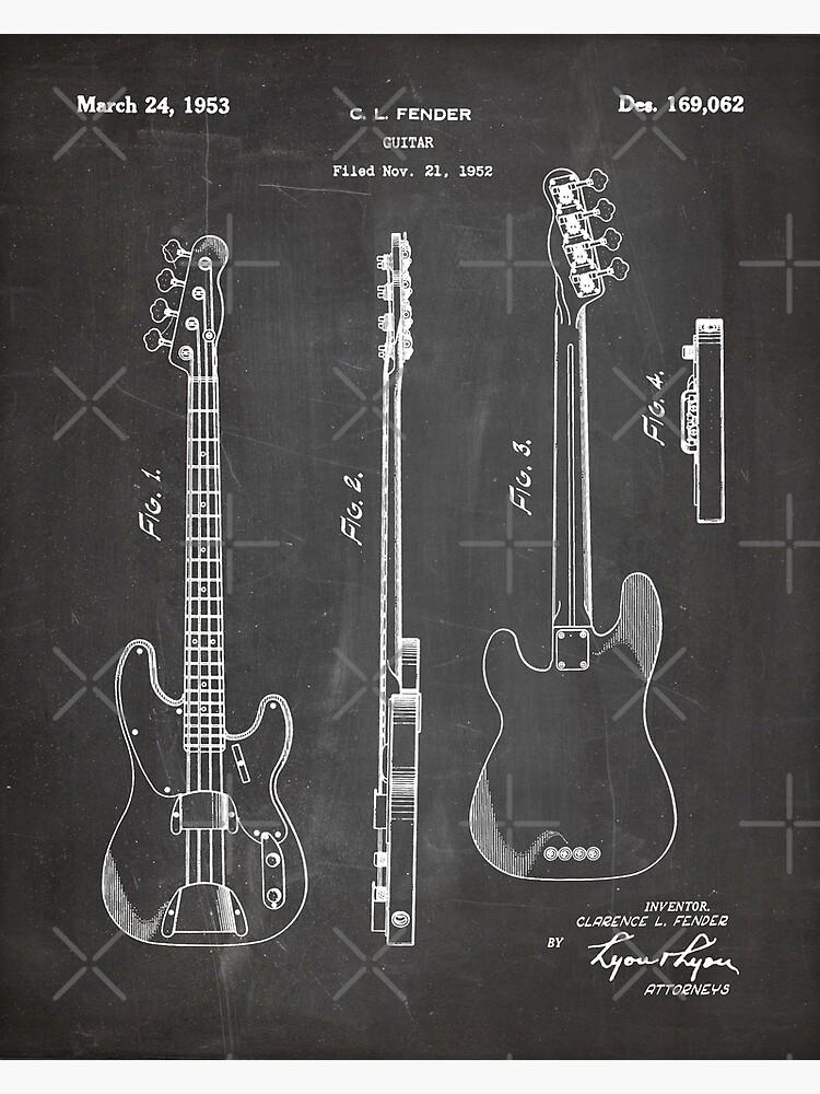 Fender Bass Patent - Fender Guitar Art - Black Chalkboard by patentpress