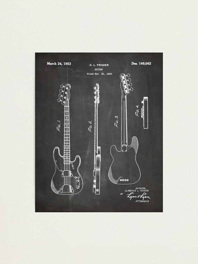 Alternate view of Fender Bass Patent - Fender Guitar Art - Black Chalkboard Photographic Print