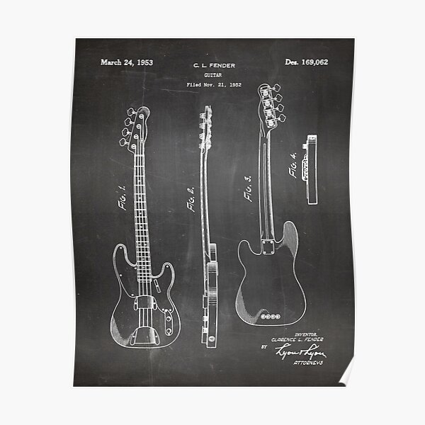 Fender Bass Patent - Fender Guitar Art - Black Chalkboard Poster