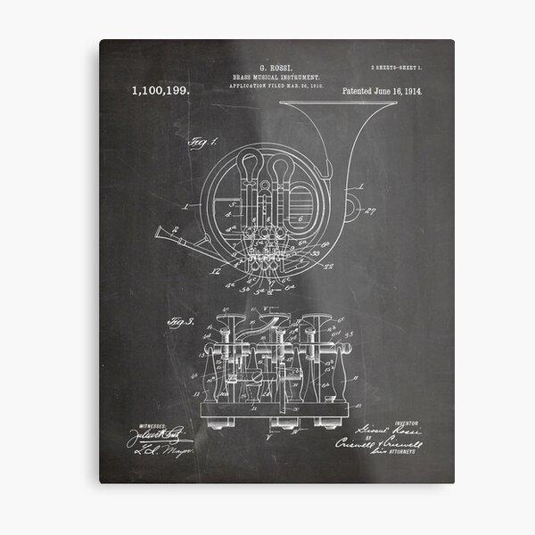 French Horn Patent - Horn Player Art - Black Chalkboard Metal Print