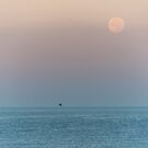 Full Moon at Sunrise over the Mediterranean Sea by Jon Shore