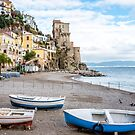 Fishing Boats on the Beach at the Amalfi Coast in Italy by Jon Shore
