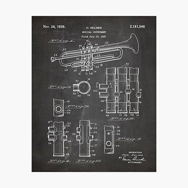 Selmer Trumpet Patent - Trumpet Art - Black Chalkboard Photographic Print
