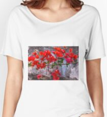 Beautiful and Bright Red Bougainvillea Flowers Women's Relaxed Fit T-Shirt