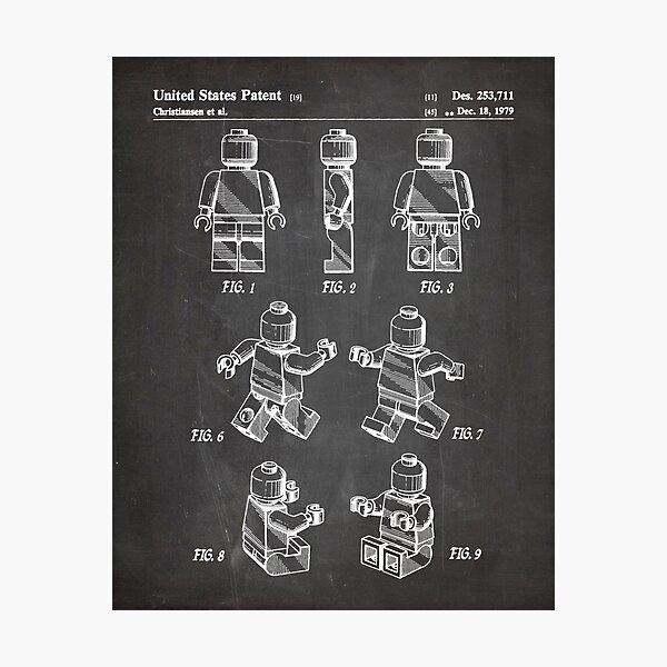 Lego Man Patent - Lego Bricks Art - Black Chalkboard Photographic Print