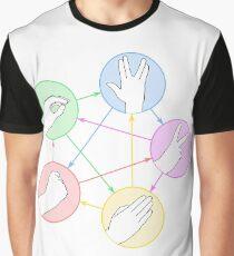 Schere Stein Papier Echse Spock Grafik T-Shirt