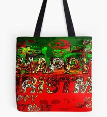 skulls red and green happy christmas  Tote Bag