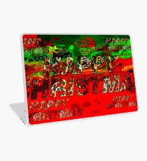 skulls red and green happy christmas  Laptop Skin