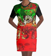 skulls red and green happy christmas  Graphic T-Shirt Dress