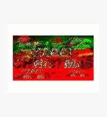 skulls red and green happy christmas  Art Print