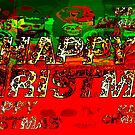 skulls red and green happy christmas  by bywhacky