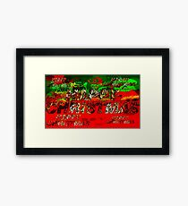 skulls red and green happy christmas  Framed Print