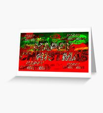 skulls red and green happy christmas  Greeting Card