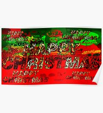 skulls red and green happy christmas  Poster