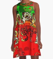 skulls red and green happy christmas  A-Line Dress