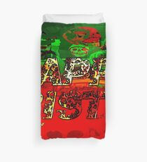 skulls red and green happy christmas  Duvet Cover