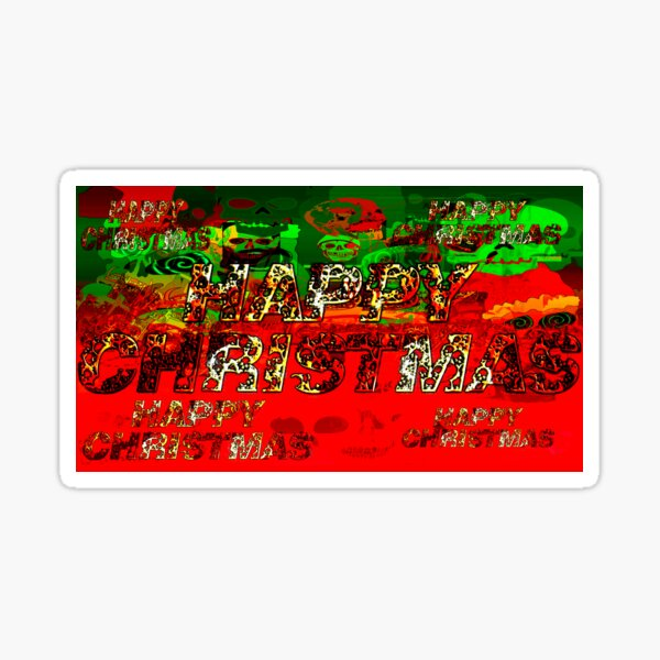 skulls red and green happy christmas  Sticker