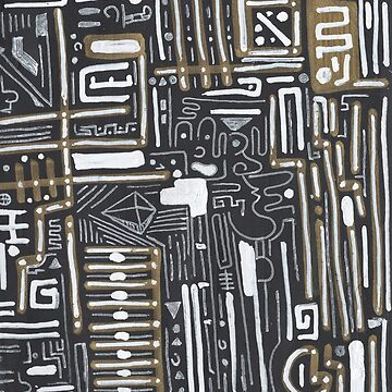 Abstract painting black, white and gold by nikodonets