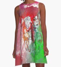 polo player red abstract A-Line Dress