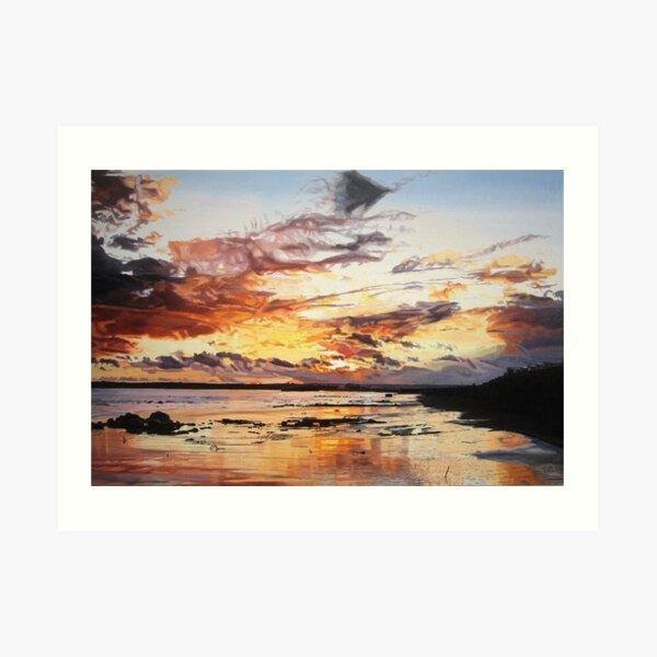 Midwinter Sunset Over Garryvoe Beach Art Print